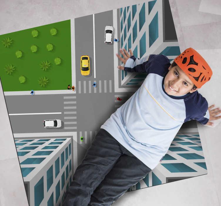 TenStickers. 3d十字路口地毯地毯. 有了这个神话般的令人惊叹的3d十字路口黑胶地毯,您就可以为送给儿子一个很棒的礼物成为最佳选择!