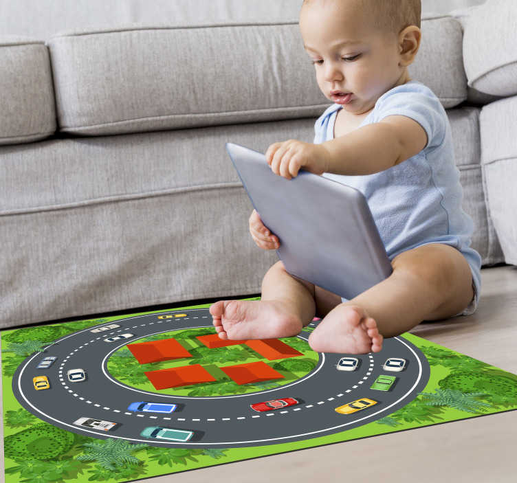 TenStickers. round race track road vinylrug. This marvellous round race track kids vinyl rug is the best choice for decorating your son's bedroom in an easy and cheap way!