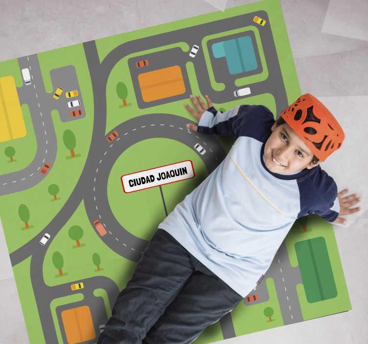 TenStickers. 平方城市乙烯基地毯. 这款带有个性化名称的方形城市乙烯基地毯,正是您以经济实惠的方式为儿子的房间装饰所需的东西!