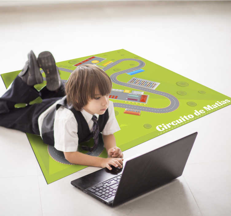 TenStickers. personalizable race track vinyl rug. Make a great gift to your son with this amazing personalizable race track vinyl rug! Make him dream of becoming a famous driver!