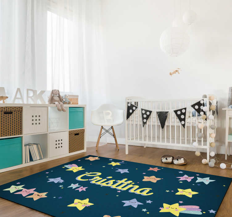 TenStickers. Customizable kids stars vinyl carpet. Make your son happy with this marvellous customizable kids stars vinyl rug! Thanks its effect you can donate to your kids something special!