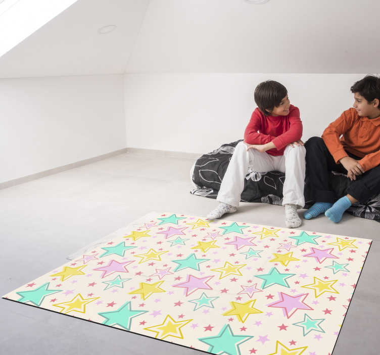 TenStickers. kids colorful stars vinyl carpet. By applying this wonderful kids colorful stars vinyl rug you will make a fantastic gift that will be surely appreciated by your son!