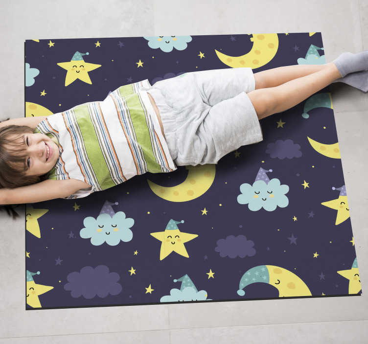 TenStickers. Stars and moon  vinyl carpet. The fabulous stars and moon kids vinyl rug you can see here represents a great solution for decorationg the room of your kids!