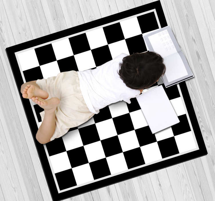 TenStickers. Chessboard game vinyl carpet. Get the help of this stunning chessboard game vinyl rug and bring in your home something capable of making really happy your kids!