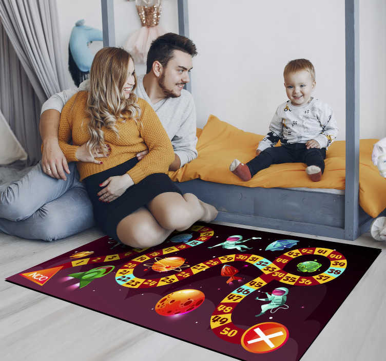 TenStickers. Space astronaut game vinyl carpet. Thanks to this wonderful space astronaut game vinyl rug you will make your kid really happy and you will also get a safe way for playing on the floor!