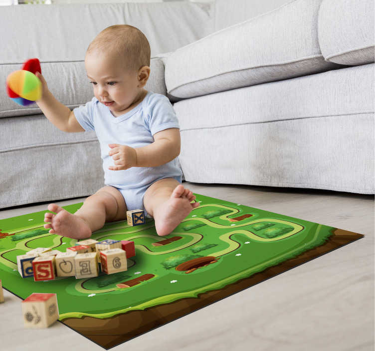 TenStickers. Fabulous kids maze game vinyl carpet. This fabulous kids maze game vinyl rug can provide the room of your baby with an amazing object capable of him truly happy!