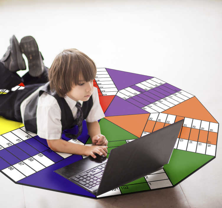 TenStickers. Six gamers Parchis board vinyl carpet. This six players Parchis board vinyl rug is a really fantastic gift you can make to your kids! Find out all its possible uses!