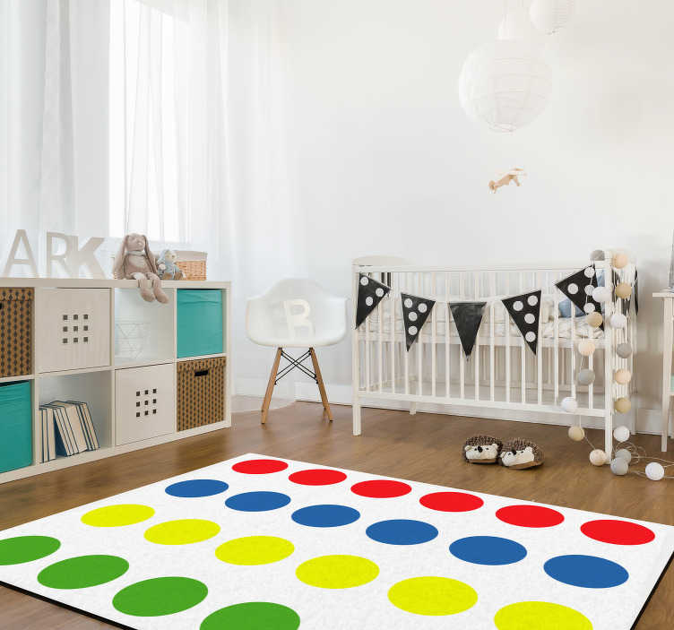 TenStickers. Twister game vinyl carpet. Through this wonderful Twister game vinyl rug you will make your children really happy! You can now play with them on the floor without problems!