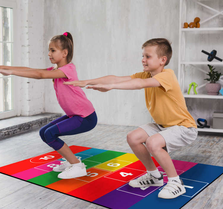 TenStickers. Colourful hopscotch vinyl rug game. Don't miss this opportunity to decorate your children's room or the room in your house that you prefer with this vinyl carpet!