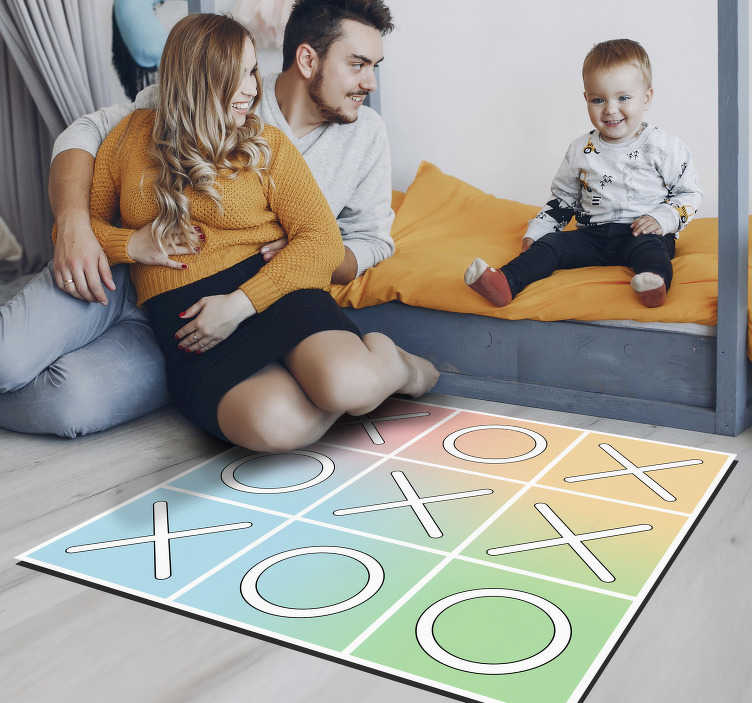 TenStickers. Knots and crosses vinyl rug game. Rectangular vinyl play mat for children to have an original and unique decoration With this design you are going to surprise everyone!