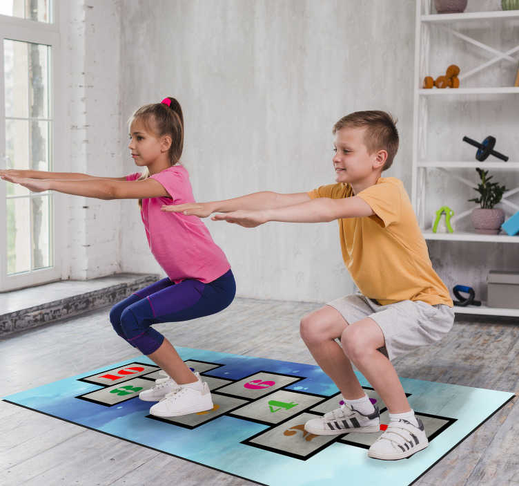 TenStickers. Childhood hopscotch vinyl rug game. Great vinyl play mat for children to give to your son or daughter and let them have a decoration to show off! Choose your size.