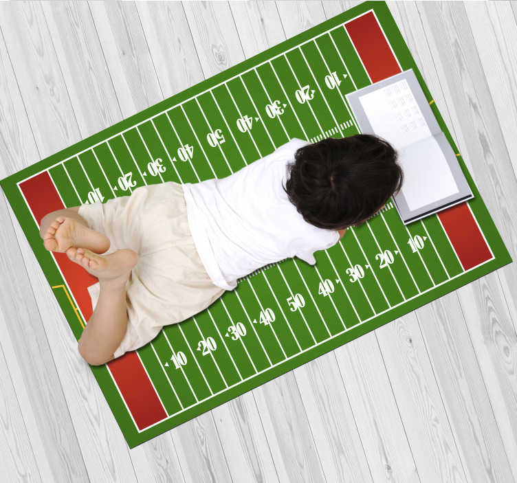 TenStickers. Vinyl rug amercian football field. Is your child a football fan or a fan of American culture and do you want that to be part of their decor? Easy to apply.