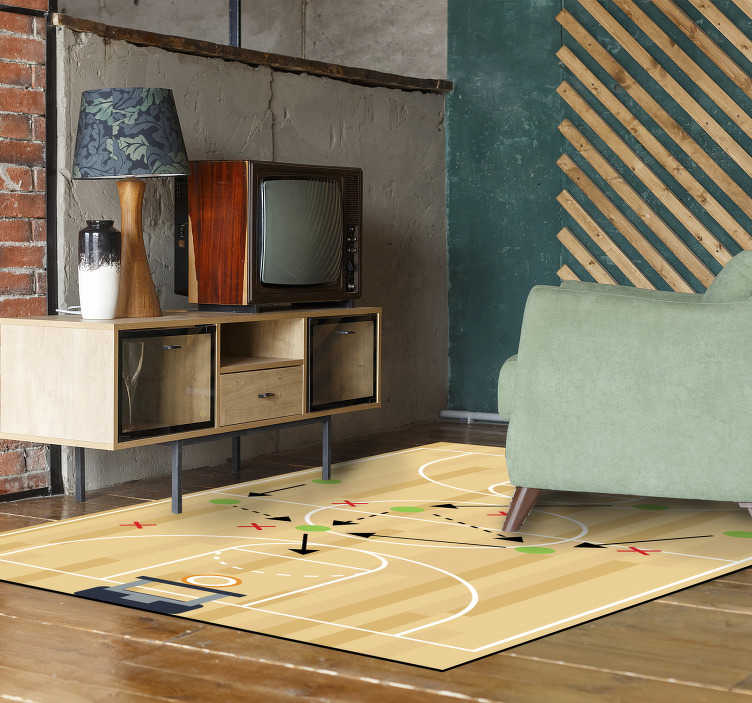 TenStickers. Vinyl rug basketball court play. Magnificent vinyl youth carpet to decorate with an exclusive touch the room of a teenager or young person! Choose your size.