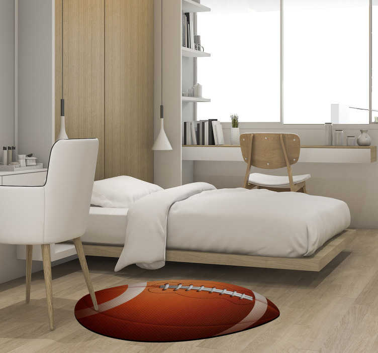 TenStickers. American football ball teen vinyl carpet. Bring home this amazing american football ball teen vinyl rug and make your children happy with something beautiful and useful at the same time!