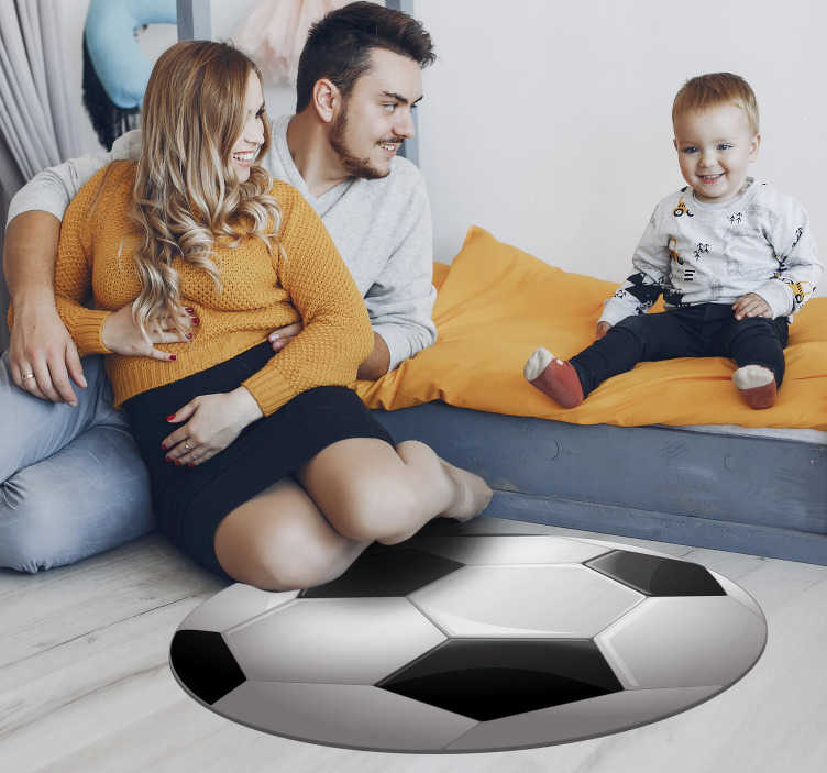 TenStickers. Football ball teen vinyl carpet. This stunning football ball teen vinyl rug is what you really need for adding a fantastic detail to the bedroom of your children in total ease!