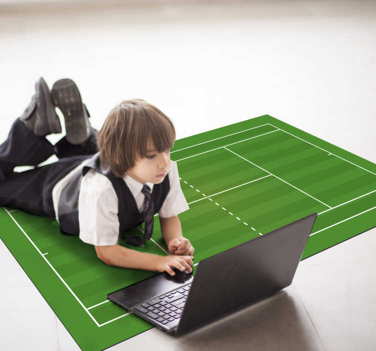 TenStickers. Tennis field  teen vinyl carpet. This spectacular tennis field teen vinyl rug is the best choice for bringing in the room of your son a really original and fantastic detail!
