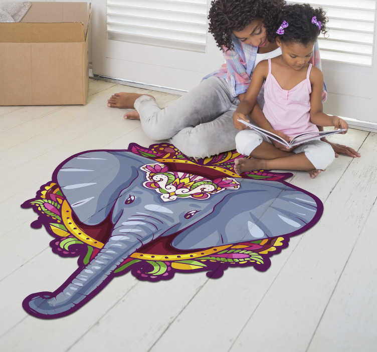 TenStickers. Elephant shaped  mandala vinyl carpet. This amazing elephant shaped  mandala vinyl rug is your best choice for decorating the spaces of your house in a really incredible way!