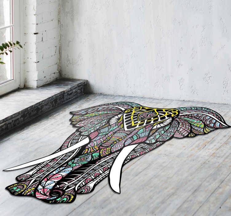 TenVinilo. Alfombra pvc elefante mandala. Maravillosa alfombra de vinilo con mandalas para que puedas decorar tu casa con un diseño que no dejará indiferente a nadie, a ti te encantará