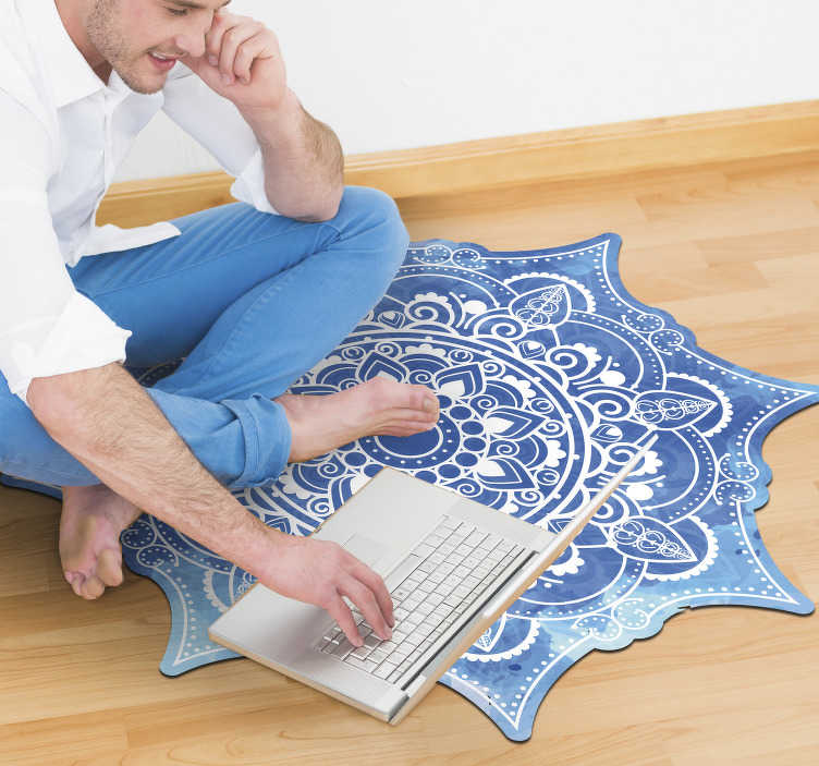 TenStickers. Blue watercolor mandala vinyl carpet. By using this stunning blue watercolor mandala vinyl rug you all your house decor will be radically improved!Trust the high quality of our vinyl!
