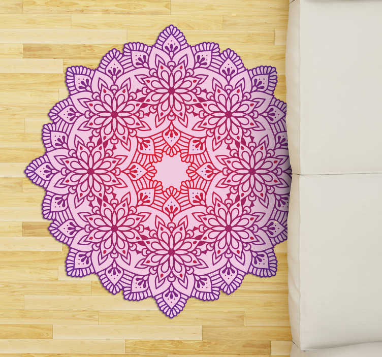 TenStickers. Elegant flower colorful mandala vinyl carpet. With this elegant flower colorful mandala vinyl rug you will be able to improve incredibly the impact of your rooms in an easy and cheap way!