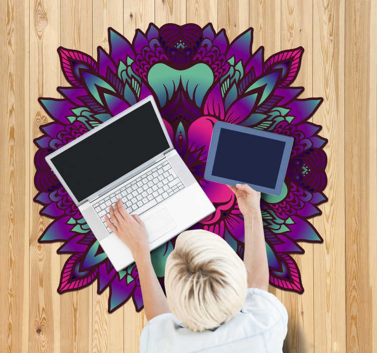 TenStickers. floral mandala lilac and purple vinyl rug. Mandala vinyl carpet in lilac and purple colors so you can have a decoration in your style and have a house that reflects your personality!