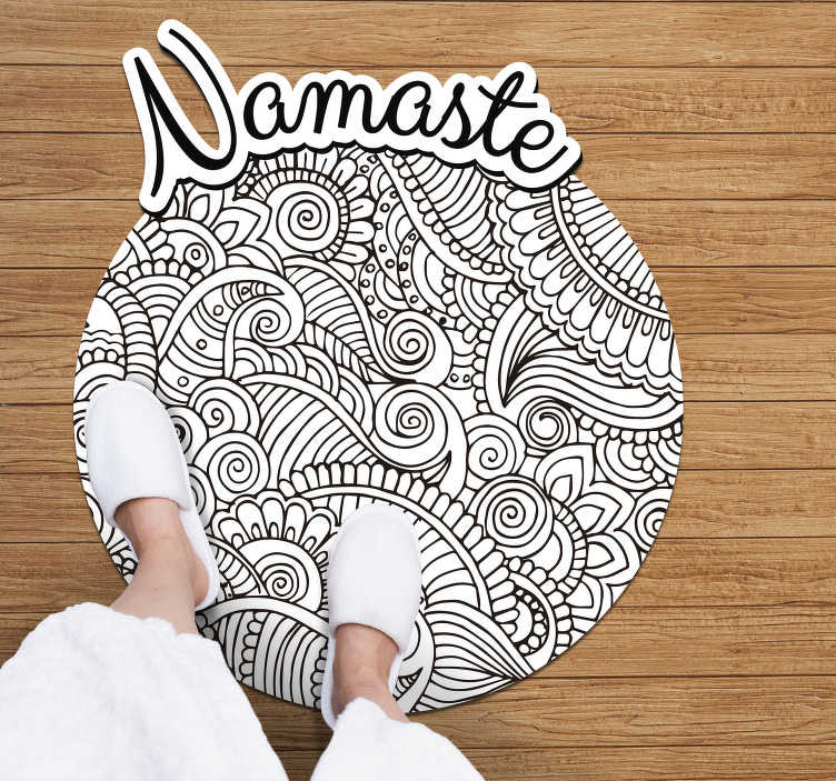 TenStickers. mandala namaste vinyl rug. Do you know the original namaste greeting? Well, now you can have it on your Mandala vinyl carpet on your floor! The ultimate decoration!