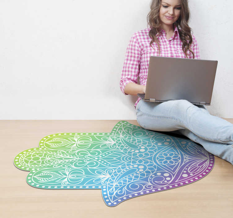TenStickers. Fatima Mandala vinyl rug. Do you love Arab culture? Do you like its symbolism? Well, now you can have it on your floor with this vinyl Mandala and ethnic carpet!