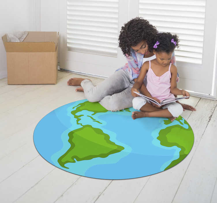 TenStickers. Illustrative world map vinyl rug. Great vinyl carpet for children's room or to place in the room of the house you prefer! World map vinyl carpet for children!