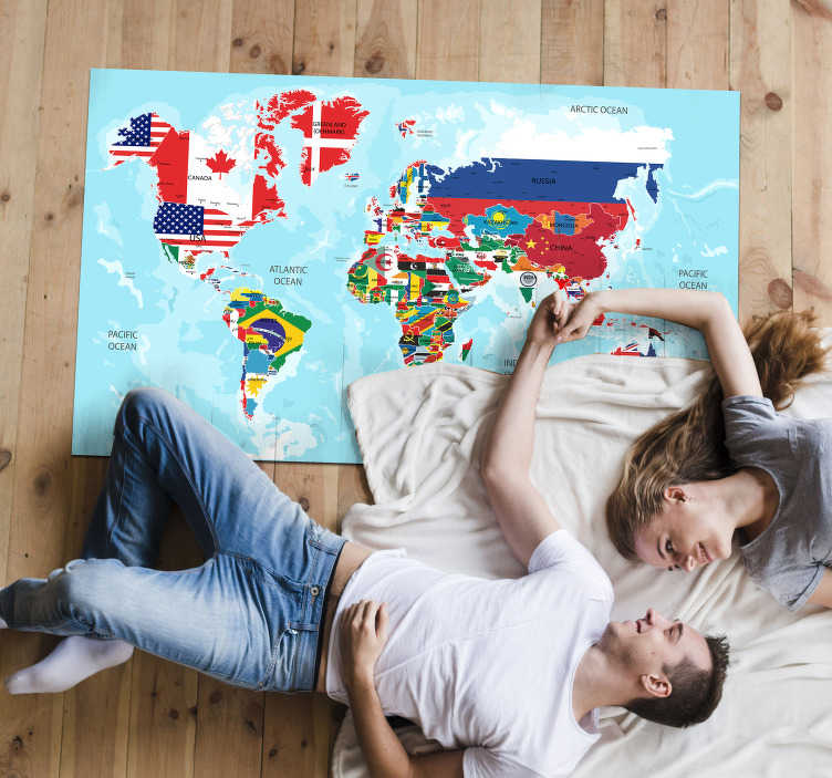 TenStickers. World Flags Map vinyl carpet. Have you thought about combining decoration and education? With this vinyl carpet world map you can travel anywhere! Personalised stickers.