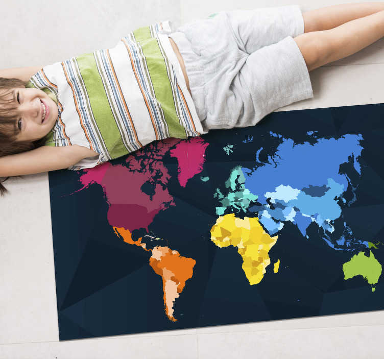 TenStickers. Modern colorful world map carpet. If you like geography, here is an incredible vinyl world map to put on your floor and enjoy an incredible decoration This design is of great quality!