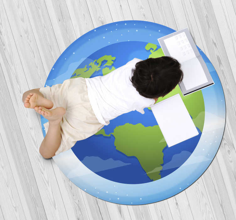 TenStickers. Amazing circular vinyl rug of the globe. Use this amazing circular vinyl rug of the globe and bring in your home something different, capable of really improving your house decor!