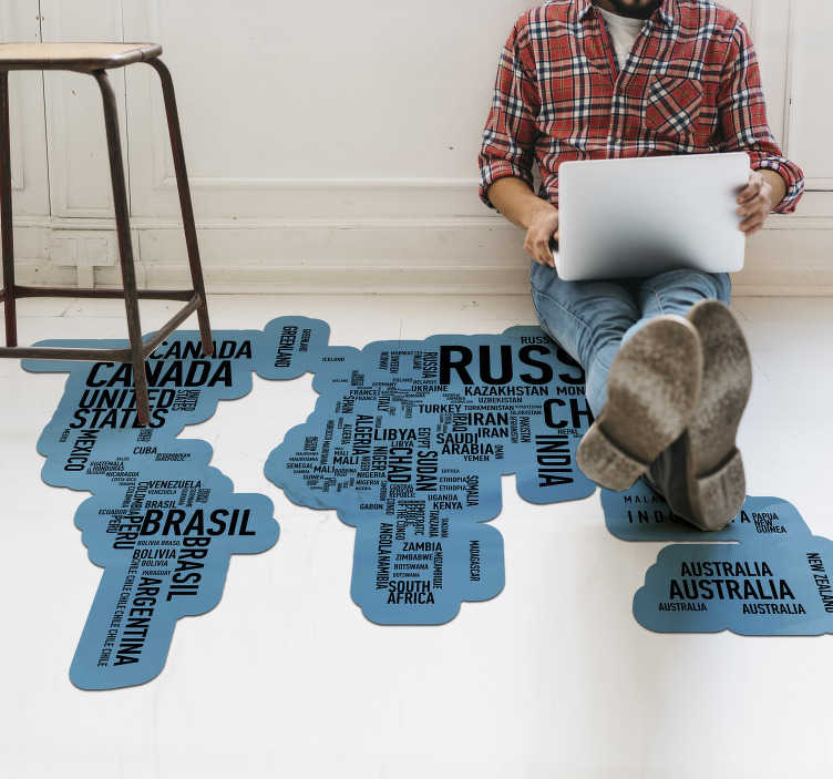 TenStickers. Countries names  world map vinyl carpet. This stunning world map vinyl rug with country names is the best solution for the improvement of every room in your house!