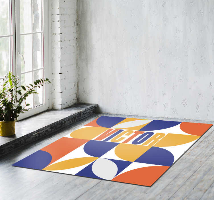 TenStickers. Personalizable geometric minimal vinyl carpet. With this personalizable geometric minimal vinyl rug you will be able to improve drastically the way your house appears!