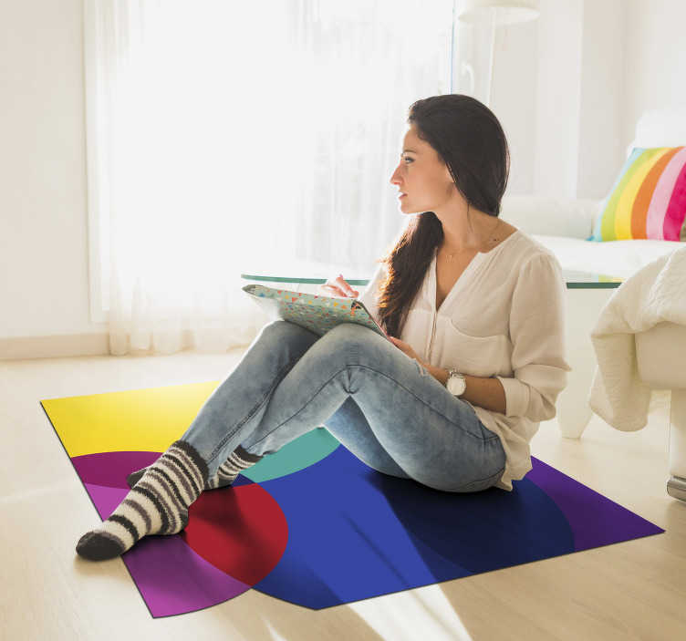 TenStickers. Colorful minimal vinyl carpet. This stunning colorful minimal vinyl rug represents a perfect choice for transforming completely your house decor with no effort and little expense!