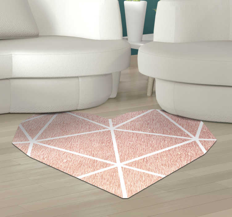 TenStickers. Pink heart minimal vinyl carpet. Look at the beauty of this wonderful pink heart minimal vinyl rug! You have find a fantastic way for changing radically the visual impact