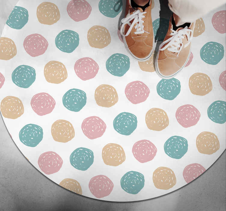 TenStickers. Minimalist vinyl carpet polka dots. See what an incredible design we propose here for you to decorate your floor with a unique style that will not leave anyone indifferent!