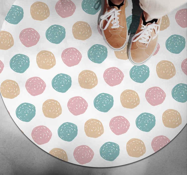 TenVinilo. Alfombra de vinilo minimalista lunares pastel. Magnífica alfombra vinílica minimalista con lunares de color pastel que ahora puede ser tuya para que decores tu casa de forma exclusiva