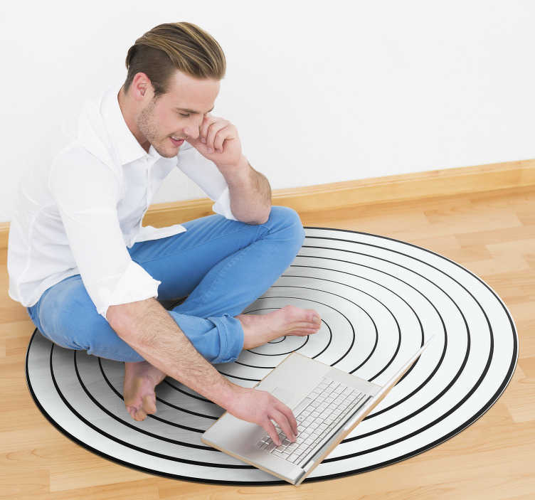 TenStickers. Minimalist vinyl carpet sound waves. Great minimalist vinyl carpet with acoustic waves that will leave a different and unique decoration that everyone will admire!