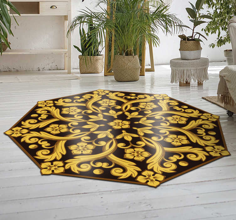 TenStickers. Floral filigree vinyl carpet vintage. Do you want a different decoration that will leave everyone surprised? This vinyl carpet is the perfect fit for any home!