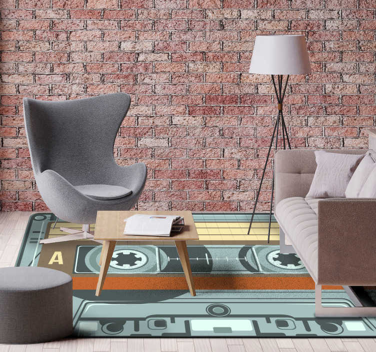 TenStickers. Radio cassette vintage vinyl rug. Exclusive vinyl carpet to decorate your house with a design that you will not be able to stop looking at! Extremely long-lasting material