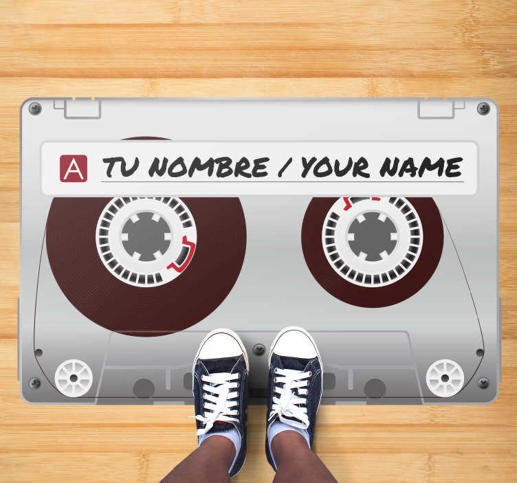 TenStickers. Carpet pvc radio cassette with name vintage. Wonderful miscellaneous vinyl carpet with name to decorate the room of a young person and teenager in a personalized and unique way!