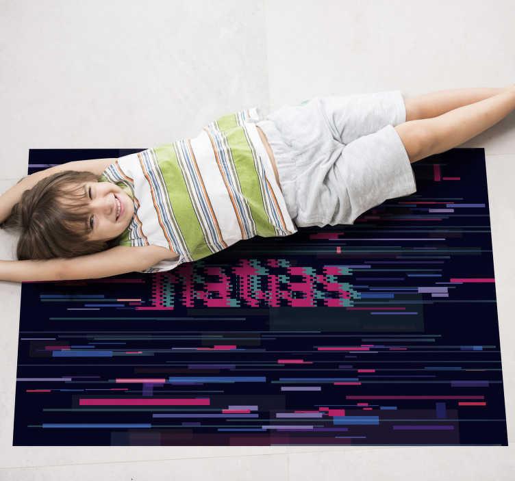 TenVinilo. Alfombra pvc moderna glitch con nombre. Fantástica alfombra vinílica moderna decorativa para que la pongas en la estancia que tú prefieras y disfrutes de un diseño exclusivo.