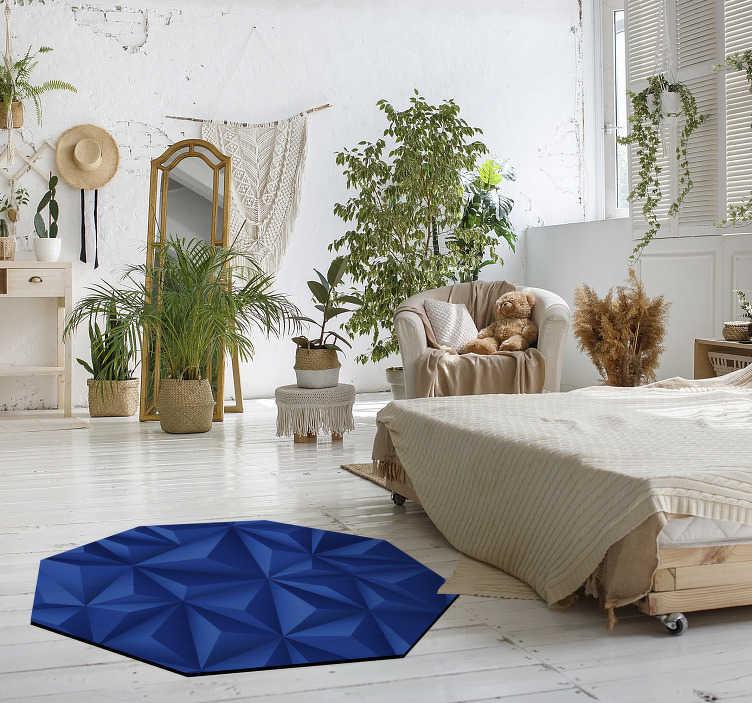TenVinilo. Alfombra pvc octagonal triangulos azules. Bonita alfombra vinílica moderna con triángulos azules para que decores con ella la estancia de tu casa que prefieras de forma vanguardista