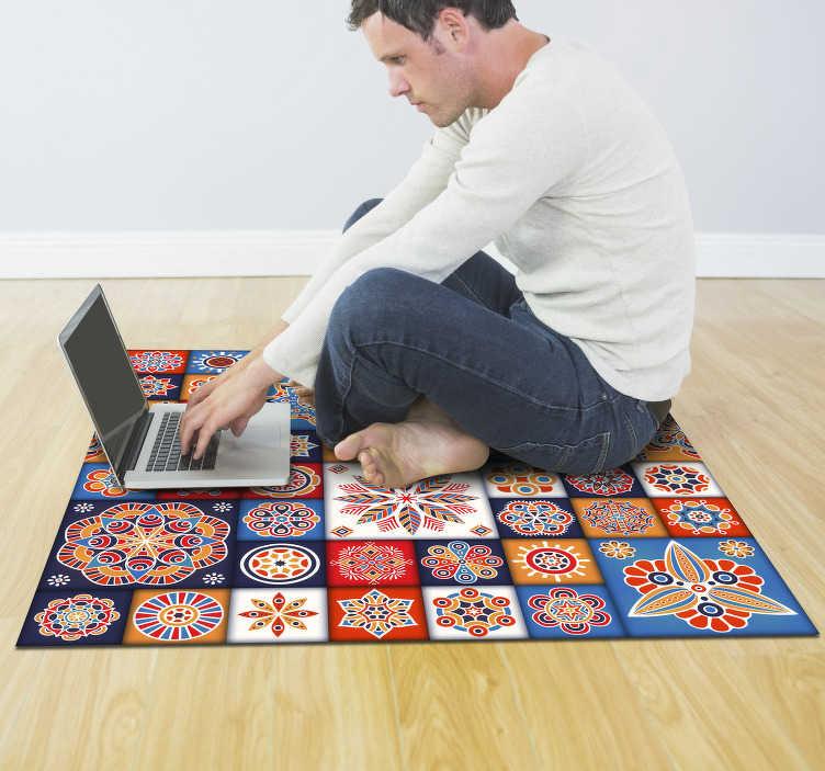 TenVinilo. Alfombra pvc mosaico azulejos. Increíble alfombra de vinilo mosaico con efecto azulejo que puedes adquirir online y cambiar tu decoración por un módico precio. Producto lavable