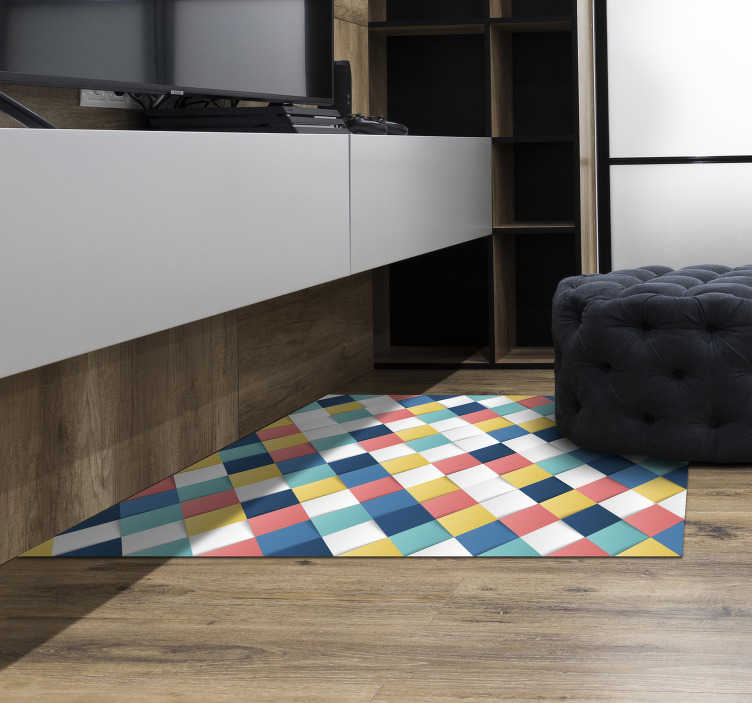 TenStickers. 3D squares mosaic vinyl carpet. This wonderful 3D squares mosaic vinyl rug is the best solution for whom wants to find a fantastic new way to decorate the house!