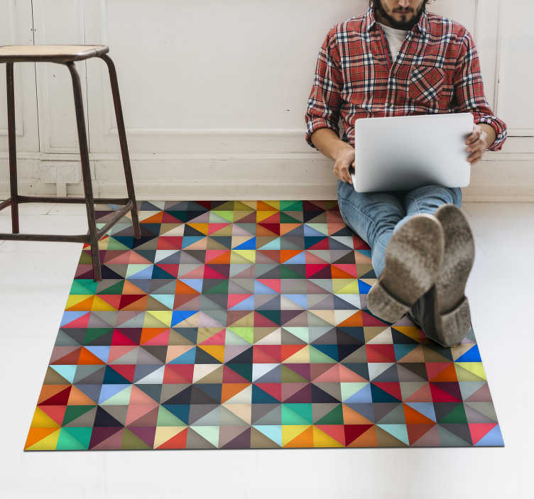 TenStickers. Colorful triangular vinyl mosaic rug. A multicoloured triangular original vinyl mosaic rug of high quality with comfortable feeling and easy to maintain. This product easy to clean.