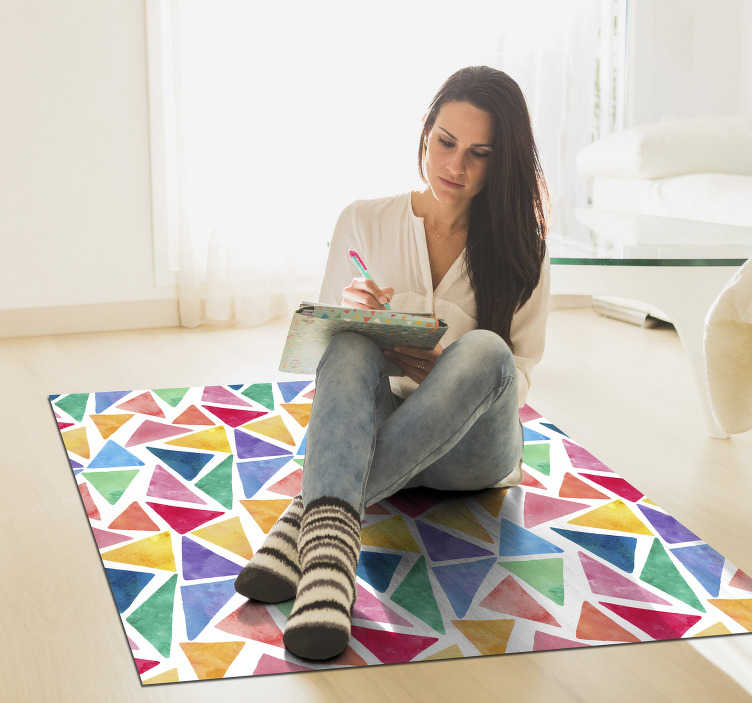 TenStickers. mosaic triangles pastel vinyl carpet. Easy to clean mosaic triangles pastel vinyl rug of high quality design of triangular shapes in multiple colour of yellow, blue, purple red and maroon.