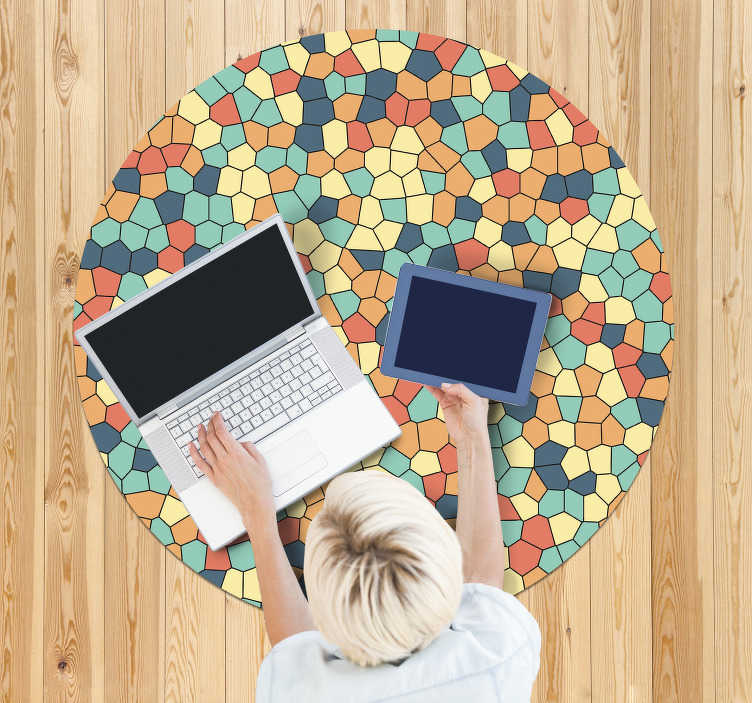 TenStickers. round vinyl mosaic carpet pastel mosaic. Mosaic vinyl carpet in pastel shades with which you will have a magnificent decoration that everyone will love! Choose your size.
