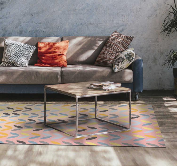 TenStickers. Tapete de vinil moderno flor maravilhosa. Com este maravilhoso tapete de vinil de estilo nórdico, poderá melhorar muito a decoração da sua casa com total facilidade.