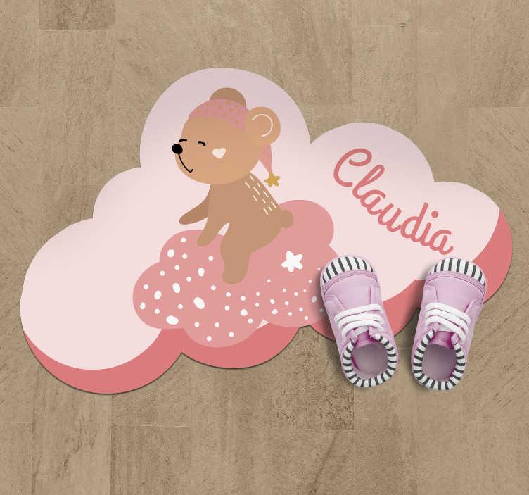 TenStickers. персонализированный с именем нордического винилового ковра. полюбуйтесь, как мило этот персонализированный розовый виниловый коврик для детей! это идеальный выбор для украшения спальни вашего сына фантастическим способом!